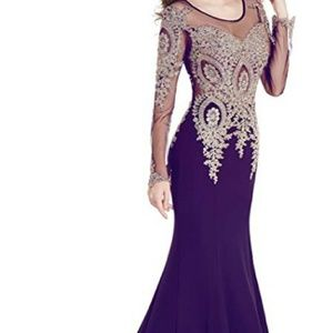 Evening gown with sheer back and long sleeves